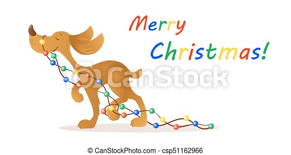 Cute Smiling Yellow Dog Carrying Christmas Lights