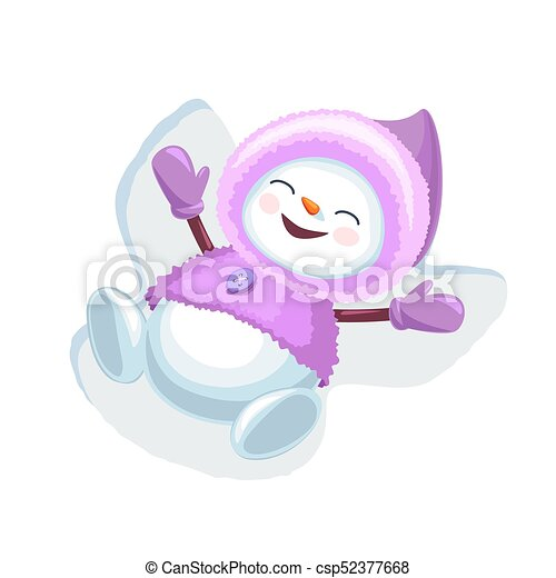 cute snowman making snow angel isolated on white background vector rh canstockphoto com Playing in the Snow Clip Art Snow Clip Art
