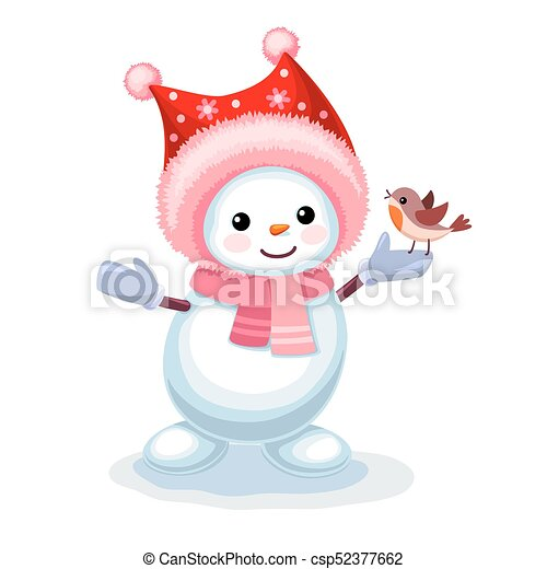 Cute snowman with a small bird on his hand isolated on white background - csp52377662