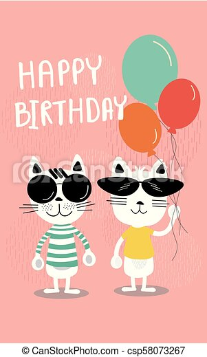Cute Soft Pastel Colour Cartoon Birthday Card Funny Cats In Sunglasses And Holding Balloons