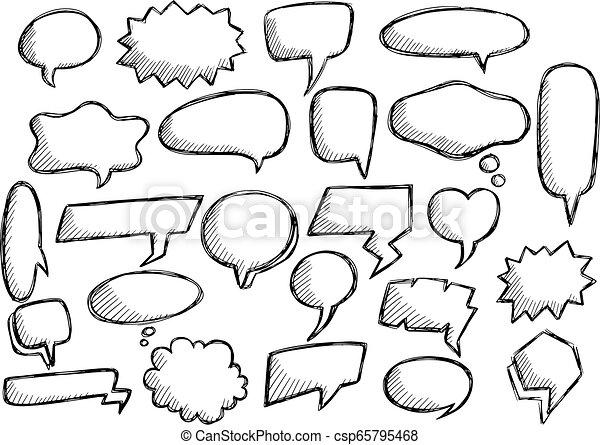 Cute speech bubble doodle set - csp65795468
