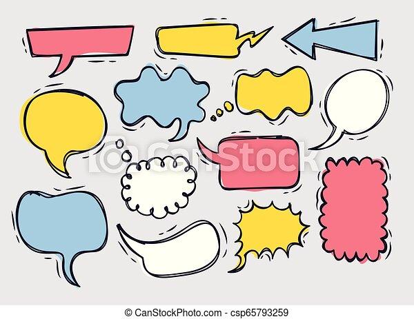 Cute speech bubble doodle set - csp65793259