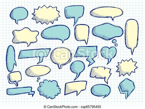 Cute speech bubble doodle set - csp65795455