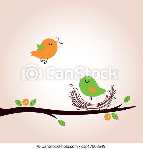 Cute spring birds building nest - csp17863549