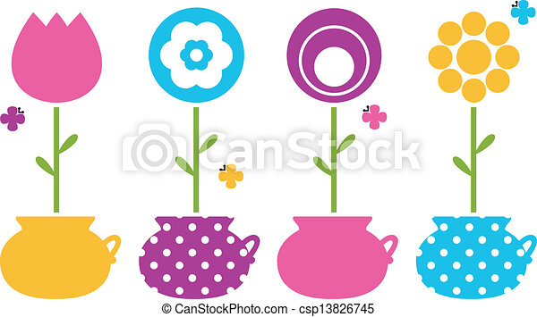 Cute spring flowers in flower pots isolated on white - csp13826745
