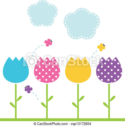 Cute spring garden Tulips isolated on white - csp13172654