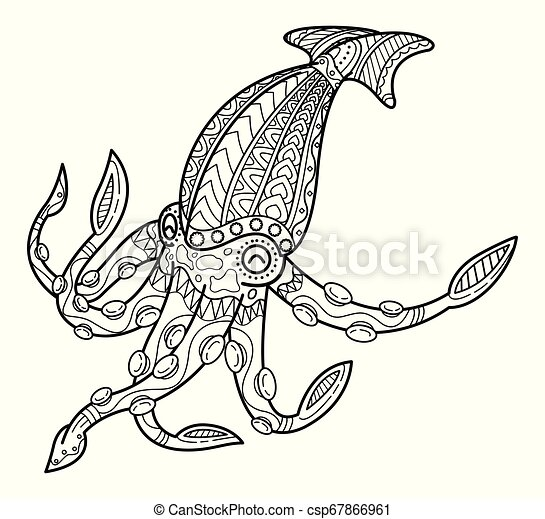Cute Squid Coloring Book For Children Hand Drawn Octopus Animal Totem For Adult Coloring Page Style Squid For Tattoo Canstock
