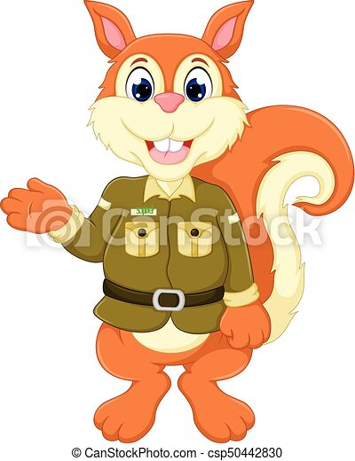 cute squirrel cartoon standing with waving and smiling - csp50442830