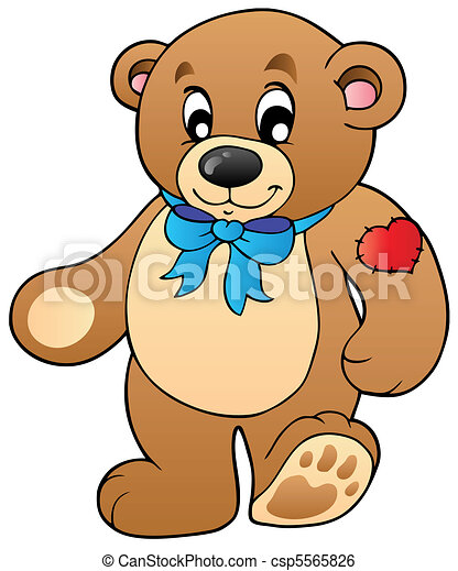 Cute standing teddy bear - csp5565826