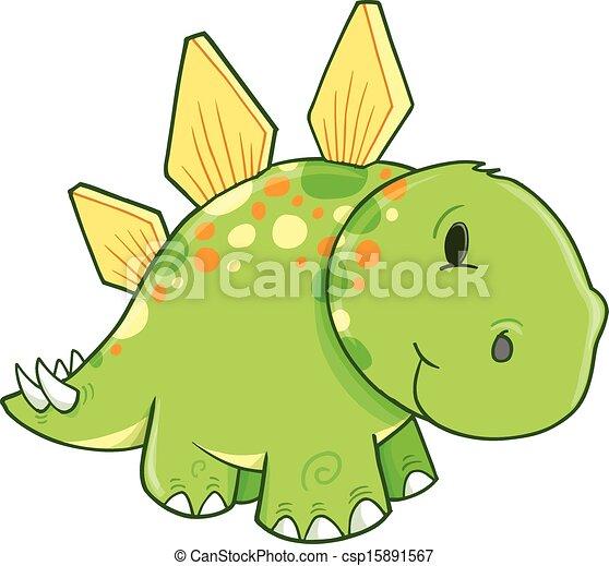 Cute Stegosaurus Dinosaur Vector  - csp15891567