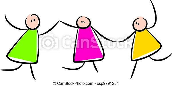cute stick people holding hands simple whimsical style drawing rh canstockphoto com