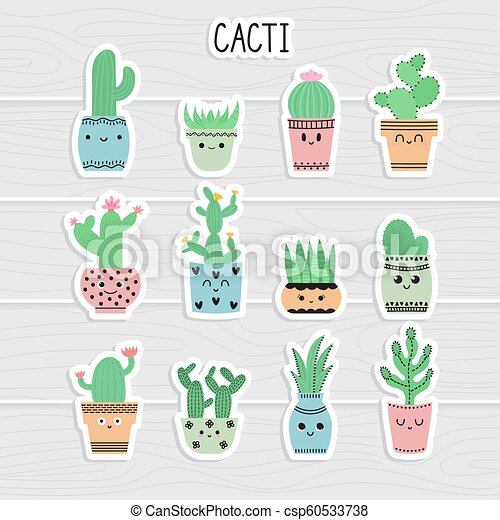 Cute Stickers Set Of Cacti And Succulents Cacti In Flower Pots Cartoon Icons Collection Of Exotic Plants Vector Canstock