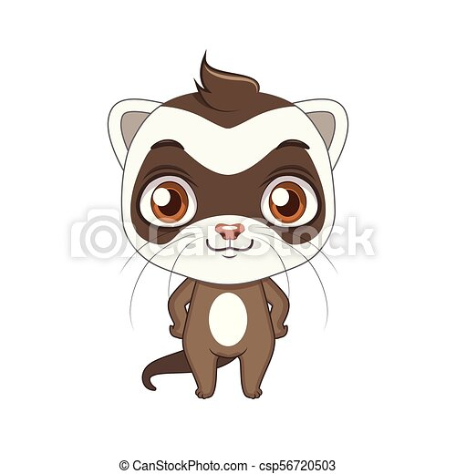 Cute stylized cartoon ferret illustration ( for fun educational purposes, illustrations etc. ) - csp56720503