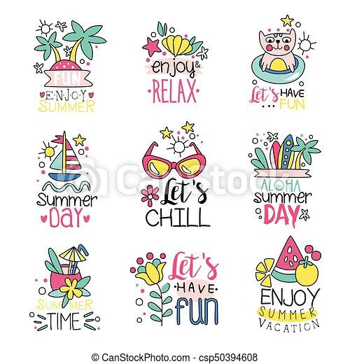 Cute summer labels set, enjoy summer vacation hand drawn ...