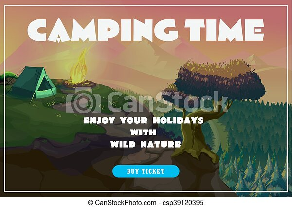 Cute summer poster - camping landscape with tent and bonfire. Vector - csp39120395