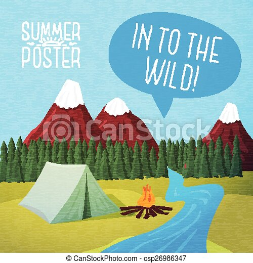Cute summer poster - camping landscape with tent and bonfire, speech bubble for your text. Vector. - csp26986347
