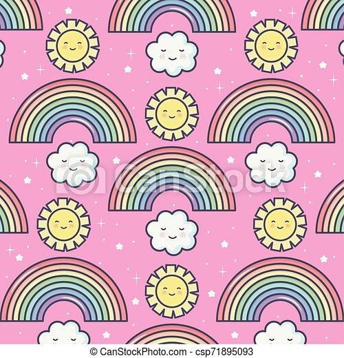 cute summer sun and clouds with rainbow kawaii pattern - csp71895093