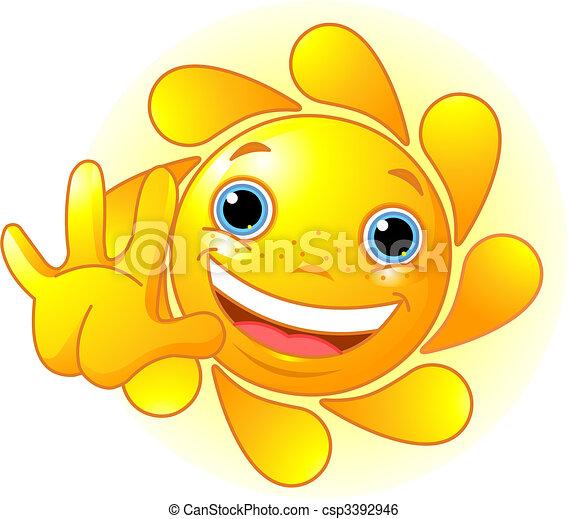Cute Sun waiving hello - csp3392946