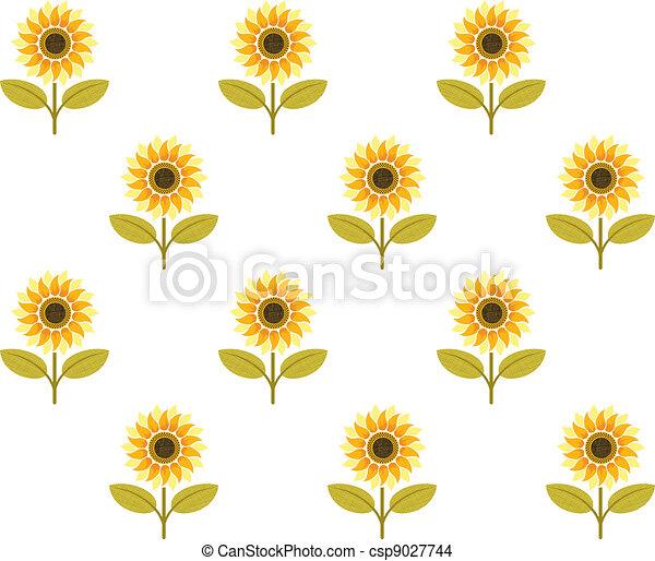 Cute Sunflower Seamless Pattern Vector