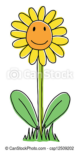 Cute sunflower. Joy hand drawn sunflower, cartoon ...