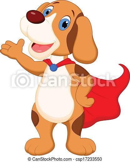 Cute super dog cartoon presenting  - csp17233550