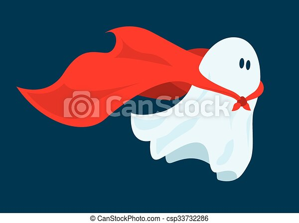 Cute super hero ghost flying with cape - csp33732286