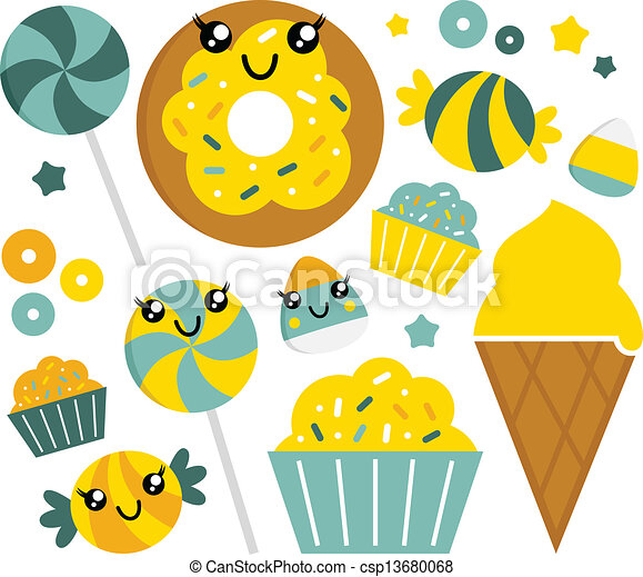 Cute sweet cartoon candy set lime and mint sweet candy clip cute sweet cartoon candy set lime and mint vector sciox Gallery
