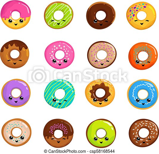 Cute Sweets Donuts In Japanese Kawaii Style Vector Set Donut Food