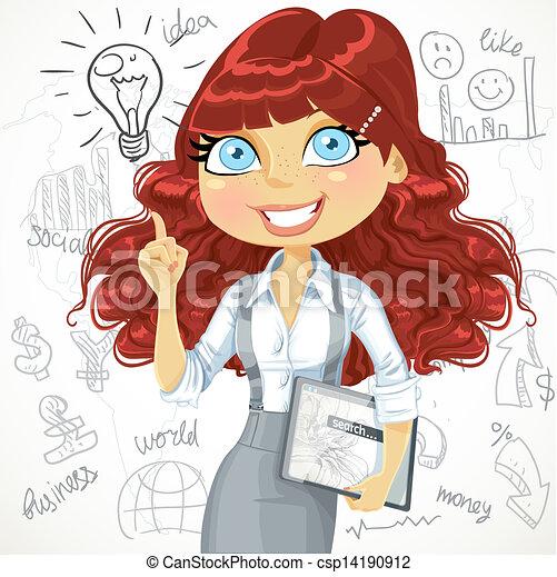 cute, tabuleta, cacheados, marrom, doodle, idéia, cabelo, fundo, menina, eletrônico, inspiração - csp14190912