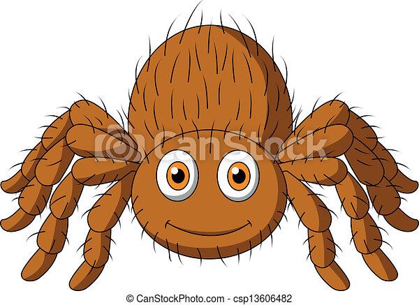 Cute tarantula spider cartoon - csp13606482