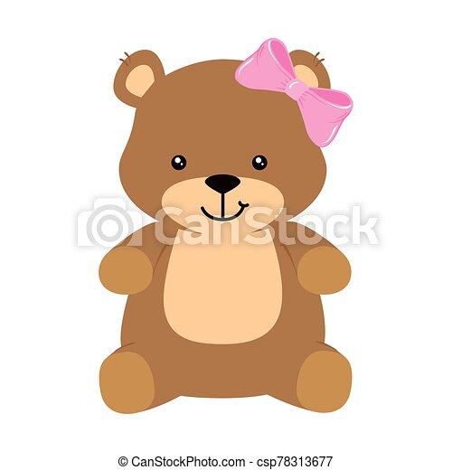 cute teddy bear female isolated icon - csp78313677