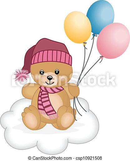 Cute teddy bear flying balloons - csp10921508