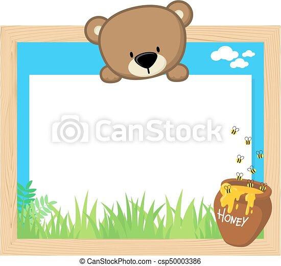 Cute teddy bear frame. Wood frame with cute baby bear and blank ...