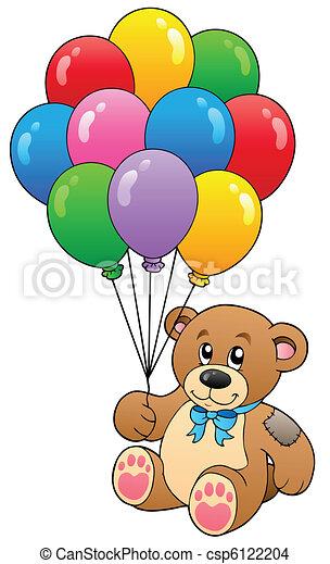 Cute teddy bear holding balloons - csp6122204
