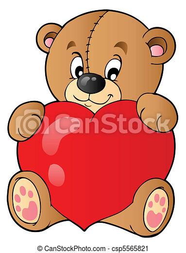 Cute teddy bear holding heart - csp5565821