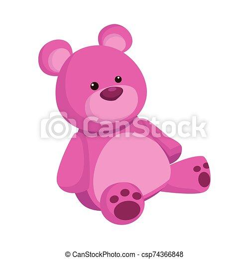 cute teddy bear icon, flat design - csp74366848
