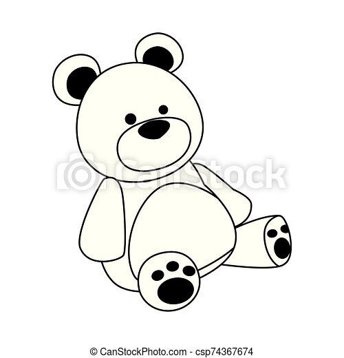 cute teddy bear icon, flat design - csp74367674