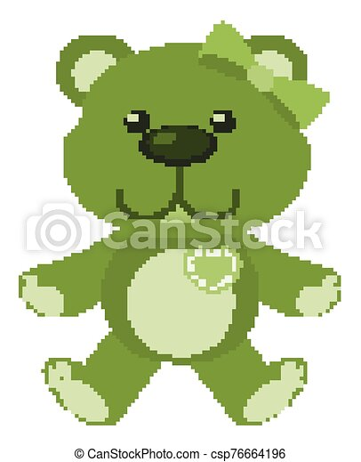 Cute teddy bear in green color on white background - csp76664196
