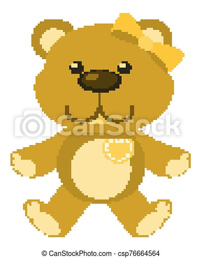 Cute teddy bear in yellow color on white background - csp76664564