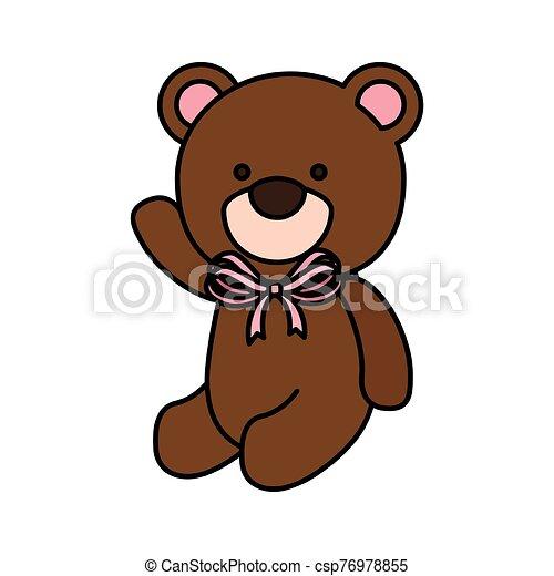 cute teddy bear isolated icon - csp76978855