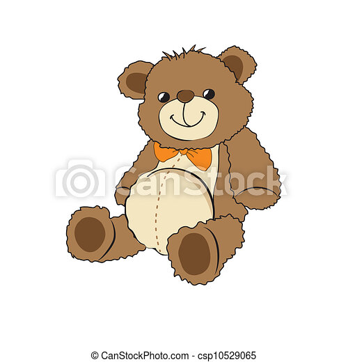Cute teddy bear on white background - csp10529065