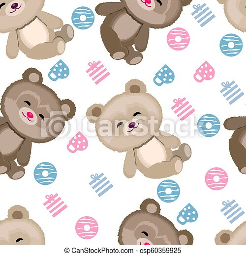 Cute Teddy bear pattern on white background - csp60359925