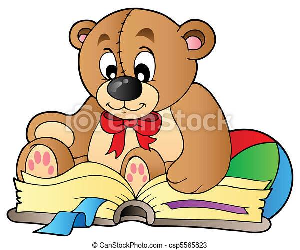 Cute teddy bear reading book - csp5565823