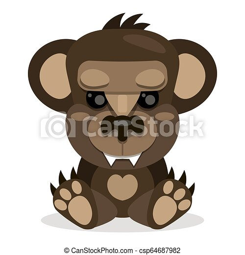 Cute Teddy bear smiling. Toy for children. Vector - csp64687982