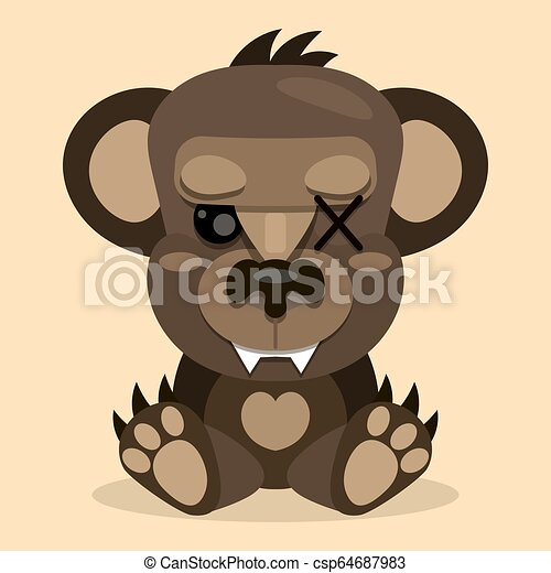 Cute Teddy bear smiling. Toy for children. Vector - csp64687983