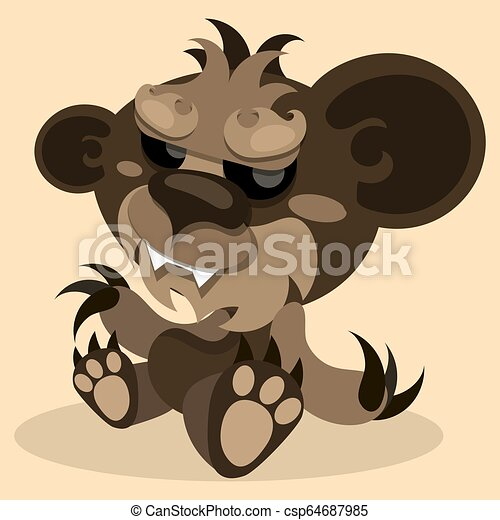 Cute Teddy bear smiling. Toy for children. Vector - csp64687985
