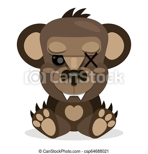 Cute Teddy bear smiling. Toy for children. Vector - csp64688021