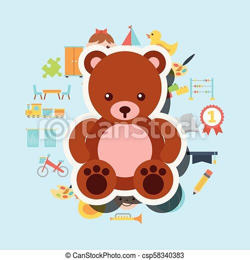 cute teddy bear toys background - csp58340383