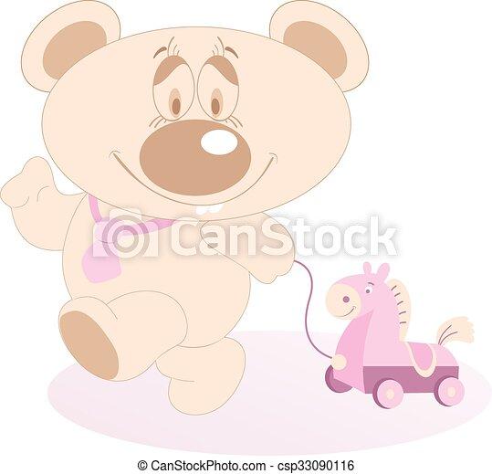 Cute Teddy Bear with a toy horse - csp33090116