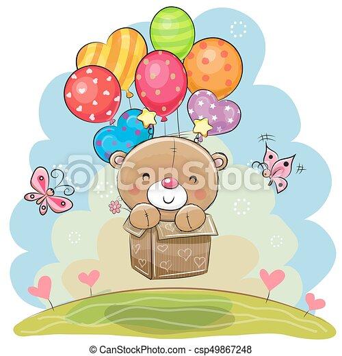 Cute Teddy Bear with balloons - csp49867248